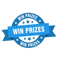 win prizes ribbon win prizes round blue sign win vector image