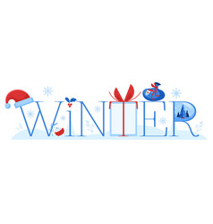 winter horizontal banner with vector image