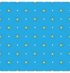 yellow stars with rays seamless pattern vector image