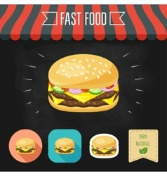Double cheeseburger icon on a chalkboard Set of vector image vector image