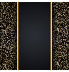 Elegant black background with gold lace ornament vector