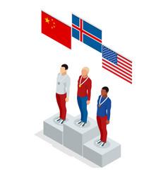 olympic podium stand isometric sports man winner vector image