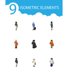Isometric person set of cleaner seaman girl and vector