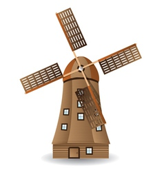 Old wooden windmill vector image