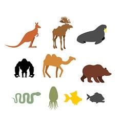 Set of wild animals on white background vector image
