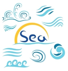Set the wave sea sun i vector image