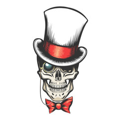 skull in cylinder hat with monocle vector image