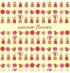 Summer Flowers Pattern Background vector image vector image