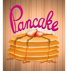 Layer of pancake and fresh strawberry vector image vector image