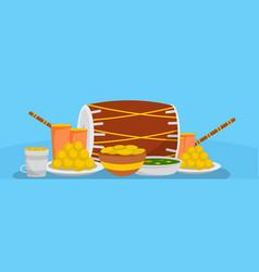 lohri food banner flat style vector image