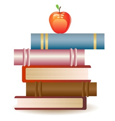 Red apple on book stack vector image vector image