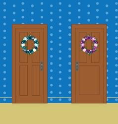 Wooden doors with flower wreaths vector