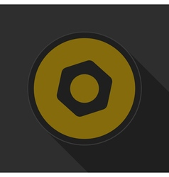 yellow round button with black nut icon vector image