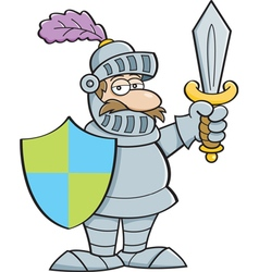Cartoon knight holding a sword and a shield vector image vector image