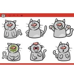 cat emotions cartoon set vector image