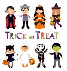Cute colorful Halloween kids set vector image