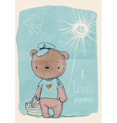 cute doodle bear vector image vector image