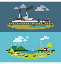 Ecology of city technology and environment concept vector image vector image