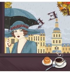 Girl at a cafe vector image
