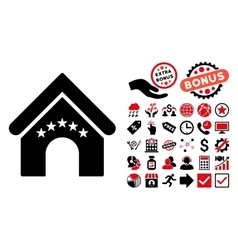 Hotel Building Flat Icon with Bonus vector image vector image