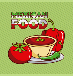 mexican food chili pepper tomato sauce traditional vector image