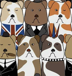 pattern with English bulldogs vector image vector image