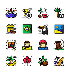 thin line brazil icons vector image vector image