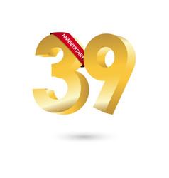 39 year anniversary template design vector