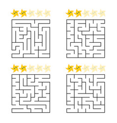 abstract simple square isolated labyrinth four vector image
