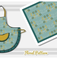 Apron With Blue Flowers vector image
