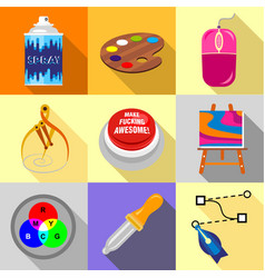 art tools icons set flat style vector image