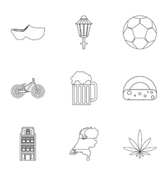 Attractions of Holland icons set outline style vector