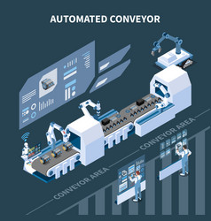 Automated conveyor isometric composition vector