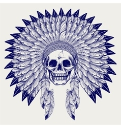 Ball pen sketch skull in headdress vector image