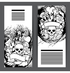 Banners with retro tattoo symbols cartoon old vector
