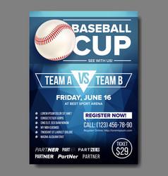 baseball poster baseball ball design vector image