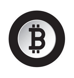 black white icon - bitcoin crypto currency symbol vector image