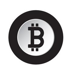 black white icon - bitcoin crypto currency symbol vector image