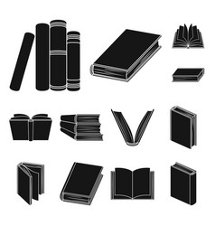 book in the binding black icons in set collection vector image
