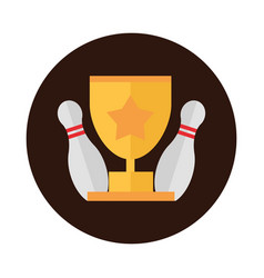 Bowling pins and gold trophy game competition vector