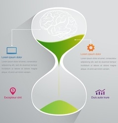 Brain and sand clock info graphics vector