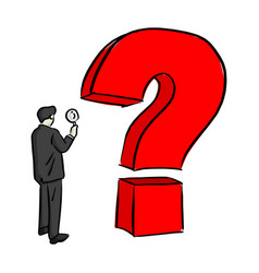 businessman looking at big question mark vector image