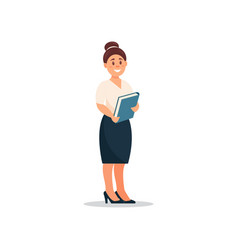 businesswoman standing with a folder in her hands vector image