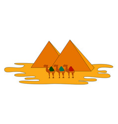 camels and pyramids on white background vector image