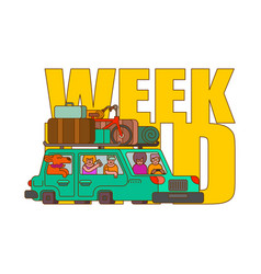 Car for weekend outline style family go to vector