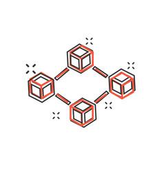 cartoon blockchain technology icon in comic style vector image