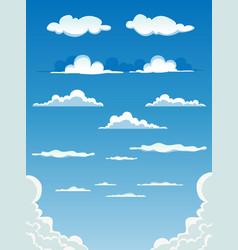 cartoon clouds set vector image