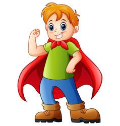 Cartoon kid playing a superhero vector
