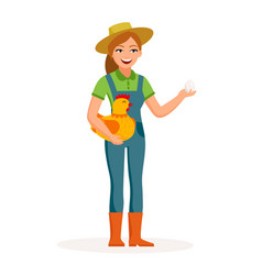 cheerful girl farmer is holding an egg and cute vector image