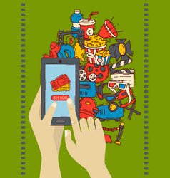 cinema festival buy online ticket banner poster vector image